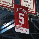 The banner for Nicklas Lidstrom's retired #5 jersey hanging at Joe Louis Arena, shortly after being raised.