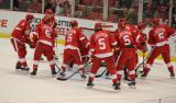 The Detroit Red Wings crash the net during pre-game warmups, all wearing Nicklas Lidstrom's jersey in honor of its retirement.