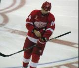 Gustav Nyquist skates near center ice prior to the start of the game.