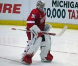 Jimmy Howard skates near his net during a stop in play.