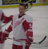 Nicklas Lidstrom stands at the blue line during pregame warmups.