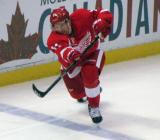 Daniel Alfredsson fires a pass up-ice.