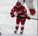 Tomas Tatar gets set for a faceoff.
