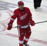 Brendan Smith skates back to the bench during a stop in play.