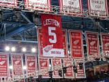 The banner for Nicklas Lidstrom's retired #5 jersey on the night that it was raised to the rafters.