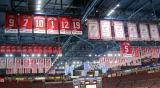 The banners in the Joe Louis Arena rafters on the night Nicklas Lidstrom's retired #5 jersey was raised.