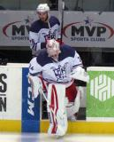 Petr Mrazek and Landon Ferraro lead the Grand Rapids Griffins onto the ice for pre-game warmups before their annual Purple Game.