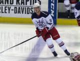 Cory Emmerton skates at the blue line during pre-game warmups before the Grand Rapids Griffins' Purple Game.