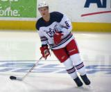 Teemu Pulkkinen skates in the neutral zone during pre-game warmups before the Grand Rapids Griffins' Purple Game.