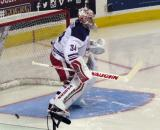 Petr Mrazek faces a shot during pre-game warmups before the Grand Rapids Griffins' Purple Game.