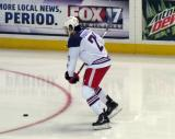 Trevor Parkes gets set to take a shot during pre-game warmups before the Grand Rapids Griffins' Purple Game.