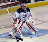 Petr Mrazek gets set in his crease during pre-game warmups before the Grand Rapids Griffins' Purple Game.