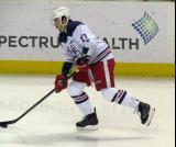 Martin Frk skates with the puck during pre-game warmups before the Grand Rapids Griffins' Purple Game.