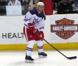 Nathan Paetsch looks to make a pass during pre-game warmups before the Grand Rapids Griffins' Purple Game.