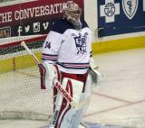 Petr Mrazek stands in the crease during pre-game warmups before the Grand Rapids Griffins' Purple Game.