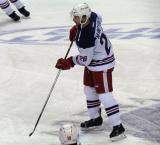 David McIntyre skates in the neutral zone during pre-game warmups before the Grand Rapids Griffins' Purple Game.