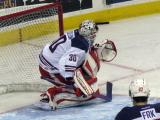 Tom McCollum drops down to block a shot during pre-game warmups before the Grand Rapids Griffins' Purple Game.