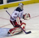 Tom McCollum comes out to the top of the crease during pre-game warmups before the Grand Rapids Griffins' Purple Game.