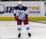 Andrej Nestrasil stands on the ice during pre-game warmups before the Grand Rapids Griffins' Purple Game.