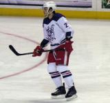 Martin Frk skates in the high slot during pre-game warmups before the Grand Rapids Griffins' Purple Game.