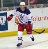 Brennan Evans skates in the corner during the Grand Rapids Griffins' Purple Game.