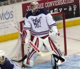 Petr Mrazek stands in his crease during the Grand Rapids Griffins' Purple Game.