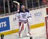 Petr Mrazek stands behind the net after playing the puck during the Grand Rapids Griffins' Purple Game.
