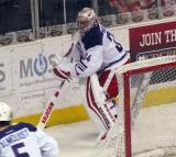 Petr Mrazek plays the puck behind his net during the Grand Rapids Griffins' Purple Game.
