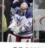 Petr Mrazek leads the Grand Rapids Griffins out for the second period of their Purple Game.