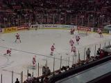 The Red Wings hit the ice for pregame warmups.