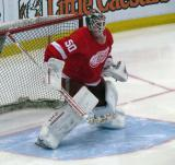 Jonas Gustavsson stands in the crease during pre-game warmups.