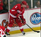 Brendan Smith stickhandles along the boards during pre-game warmups.