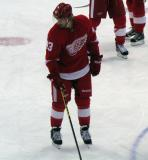 Darren Helm skates in the neutral zone during pre-game warmups.
