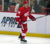 Gustav Nyquist skates along the boards during pre-game warmups.