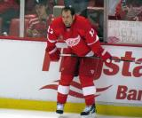 David Legwand crouches along the boards during pre-game warmups.