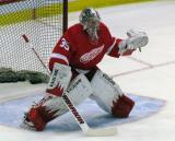 Jimmy Howard comes out to the top of the crease during pre-game warmups.