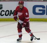 Justin Abdelkader skates in the far faceoff circle during pre-game warmups.