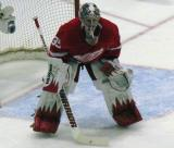 Jimmy Howard squares himself to the faceoff circle.