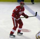 Pavel Datsyuk skates to the blue line.