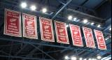 The banners for the Red Wings' 1995 and 1996 accomplishments hanging at Joe Louis Arena.