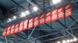The banners for the Red Wings' League Championships and American Division Championship hanging in the Joe Louis Arena rafters.