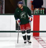 Andrew Rowe steps onto the ice for a session at the 2014 MSU Pro Camp.