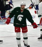 Drew Miller looks back to the bench during a session at the 2014 MSU Pro Camp.