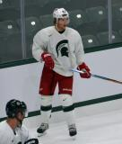 Justin Abdelkader sets up behind the net during a session at the 2014 MSU Pro Camp.