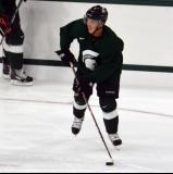 Bryan Lerg carries the puck during a session at the 2014 MSU Pro Camp.