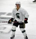 Dustin Gazley skates in the neutral zone during a session at the 2014 MSU Pro Camp.