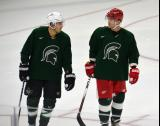 Shawn Horcoff and Daniel Cleary skate side-by-side during a session at the 2014 MSU Pro Camp.