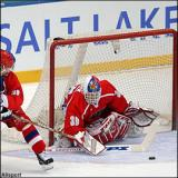 Dominik Hasek makes a save for the Czech Republic during the 2002 Olympic Winter Games.