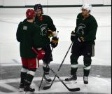 Daniel Cleary, Patrick Eaves and Shawn Horcoff stand at center ice during a session at the 2014 MSU Pro Camp.