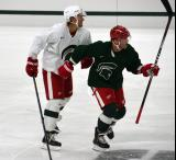 Danny DeKeyser and Daniel Cleary battle during a session at the 2014 MSU Pro Camp.